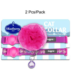 "Blueberry Pet The Power of All in One Adjustable Breakaway Cat Collar with Bell & Flower Pack of 2 - Stunning Plum Regular - 9""-13"" Neck"