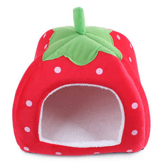 Suicazon Small Animal House Doggy Kitty Strawberry Soft Home Red S