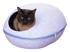 PetPals Sky Pod Blue Felt Bed with Removable Cover, One Size