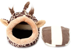 2 in 1 Small Pet Bed with a Pillow Cushion Pad for Hamsters, Guinea Pigs, Chinchillas, Hedgehog and Surgar Glider Animals Lightweight Habitat House Brown Giraffe Large