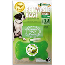 Green 'N' Pack Green Bone Dispenser with 40 Eco-Friendly Refill Bags 2 Refills