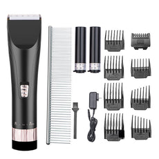Pet clippers, Pet grooming clippers, Low Noise Pet Rechargeable Cordless Clippers,Grooming Trimming Kit Set for Dogs and Cats (Gold+Black), With 2 batteries, 8 Combs, Guides Black2