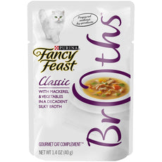 Fancy Feast Broths For Cats Mackerel & Vegetables In A Decadent Silky Broth - Pack of 16, 1.4 Oz. Ea.