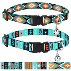 CollarDirect Cat Collar Breakaway Set of 2 PCS Tribal Pattern Aztec Pet Safety Adjustable Kitten Collar Bell Pattern 3 + Pattern 1