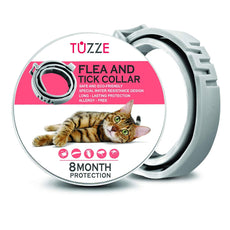 TUZZE Flea and Tick Collar for Cats - 8 Months Continuous Flea Protection for Cats - Waterproof and 100% Natural Essential Oil Extract Cat Flea Collar - Safe Flea Treatment [2019 Upgrade Version] TUZZE Cats Upgrade Version
