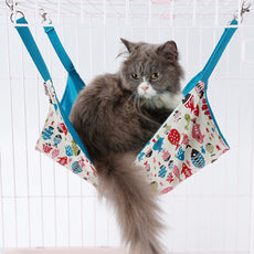 Pet Hammock - Cage Hammock - Cotton Canvas Fabric - Lovely Fish Design Pet Bed – Hammock for Cats, Ferret, Rat, Chinchilla, Rabbit, Small Dogs Beige Hammock Only