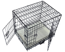 "Cool Runners Tall Boy Large Wire Pet Crate 30"" x 21"" x 24"" With Bonus Faux Sheepskin Mattress"
