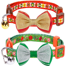 "Blueberry Pet Pack of 2 Holiday Celebration Collars with Bow Tie & Bell Pack of 2 - Christmas Party 9""-13"" Neck"