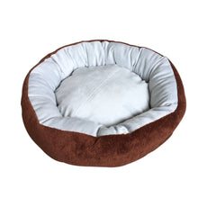 ALEKO PB22GB Extra Plush Round Pet Dog Bed with Removable Pillow 22 x 17.5 Inches in Brown and Gray