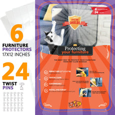 "Amazing Shields - Six(6) X-Large Furniture Protectors from Cats - Cat Repellent for Furniture - Cat Scratch Deterrent - Cat Couch Protector - Scratch pad - Cat Couch(17"" L X 12"" W) X-Large 17"" Long x 12"""