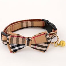 ADPET Bell Cat and Dog Collar with Bowtie - Cute Plaid Bowtie,Soft and Comfortable,Adjustable Bowtie Collar for Small/Medium/Large Dogs Brown Grid S
