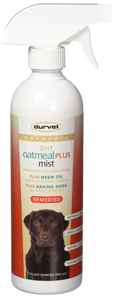 Durvet Naturals Remedies 3 in 1 Oatmeal Plus Mist, 17 Ounces, for Dogs, Soothes Skin and Repels Insects
