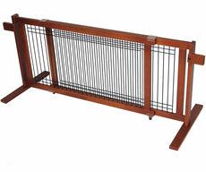 "Crown Pet Products Free Standing Wooden Pet Gate 21-Inch High For openings 40"" to 74.5"""