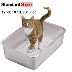 "Yangbaga Stainless Steel Litter Box for Cat and Rabbit, Odor Control, Non Stick Smooth Surface, Easy to Clean, Never Bend, Rust Proof, Large Size with High Sides and Non Slip Rubber Feets Standard 19.68""×13.78""×6"""