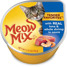 Meow Mix Tender Favorites Cat Food, Real Tuna & Whole Shrimp In Sauce, 2.75 Ounce