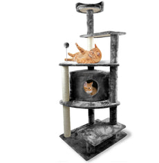 FurHaven Pet Cat Furniture | Tiger Tough Cat Tree - Available in Multiple Colors & Styles Gray Platform House Playground