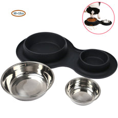 Double Stainless Steel Pet Bowl, Non-Skid/Non-Tip Dog Cat Bowls with Silicone Mat 65 OZ Feeder Bowls Pet Dish for Feeding Dogs Cats Black