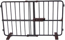 "Crown Pet Products Flexi Fit Pressure Mounted Pet Gate, Fits Openings 28"" to 40"", Dark Bronze/Brown Finish 23"" Height"