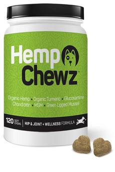 Hemp Chewz Best Hip & Joint Supplement for Dogs: Vet Recommended 100% Organic Hemp Oil & Hemp Protein + Glucosamine, Chondroitin, Turmeric, MSM for Arthritis Pain Relief & Mobility - 120 Soft Chews