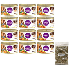 Halo Spot's Stew Grain-Free Canned Cat Food Variety Pack - 3 Oz. Each - Chicken, Chicken & Beef, and Chicken & Shrimp & Crab(12 Pack Bundle) with Catnip