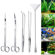 UEETEK Aquarium Tools Kit 5 in 1 Stainless Steel Fish Tank Aquatic Plant Tweezers Scissor Spatula Sets