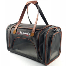 "Airline Approved Pet Travel Bag - Soft Sided Kennel for Small Dogs and Cats - Carrier fits under the seat 18""L x 10.5""W x 11""H. by Bennies World Grey"