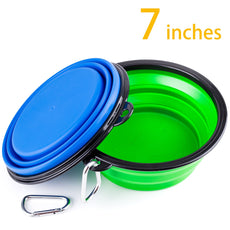 IDEGG Collapsible Silicone Dog Bowl, Food Grade Silicone,BPA Free Foldable Expandable Cup Dish Pet Raised Dog/Cat Food Water Feeding Portable Raised Tralve Camping Bowl Blue+Green Large-Set of 2