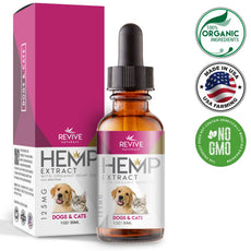 Organic Hemp Oil Dogs Cats - Supports Hip & Joint Health, Helps Relieve Pain & Separation Anxiety. Blended with Organic Hemp Oil for Optimal Absorption, 1oz 125mg