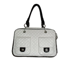 Anima Quilted Faux Patent Leather Soft Pet Carrier. For Small Dogs only. White