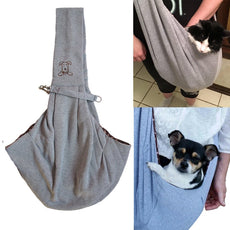 ME.FAN Reversible Small Dog Cat Sling Carrier Bag - Hands-free Travel Double-sided Pouch Shoulder Carry Tote Puppy Kitty Rabbit - Soft Comfortable Breathable Cotton Pet Outdoor Handbag - Grey