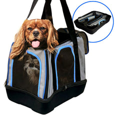 MyDeal Pop Up Pet Bag Carrier Crate with Weather Resistant Oxford Material, EVA Molded Bottom, Reinforced Frame Zipper Top and Front for Puppies, Dogs, Kittens, Cats, Rabbits + more!