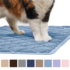 "Gorilla Grip Original Premium Durable Cat Litter Mat, XL Jumbo, No Phthalate, Water Resistant, Traps Litter from Box and Cats, Scatter Control, Mats Soft on Kitty Paws, Easy Clean Mats Light Blue Corner (32"" x 32"" x 45"")"