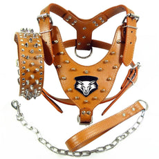 Benala Punk Wolf Spiked Studded Leather Dog Pet Harness Collar and Leash Set for Large Dogs Pitbull Boxer Bully Brown XL