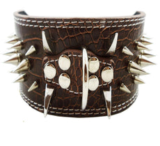 "Dogs Kingdom Faux Croc Leather Spiked Dog Collar 3"" Wide, 40 Large Spikes Pet Supplies Brown L"