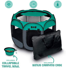 "Ruff 'n Ruffus Portable Foldable Pet Playpen + Carrying Case & Collapsible Travel Bowl | Indoor / Outdoor use | Water resistant | Removable shade cover | Dogs / Cats / Rabbit | Available In 3 Sizes Medium (29"" x 29"" x 17"")"