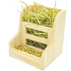 Niteangel Grass and Food Double Use Feeder, Wooden Hay Manger for Rabbits, Guinea Pigs 7'' x 6.3'' x5.8''