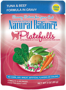 Natural Balance Platefulls Tuna & Beef Formula in Gravy Cat Food - 24x3 oz