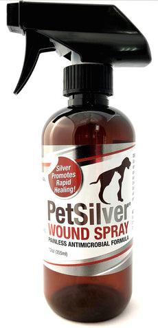 PetSilver Wound Spray with Chelated Silver. Rapid Healing for Hot Spots, Cuts, Scrapes, Bacteria & Fungal Infections, Dry Itchy Skin. Kills a Broad Spectrum of Harmful Bacteria 12 oz