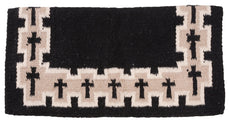 Tough 1 4 lb Wool Saddle Blanket Crosses Design black/Tan/White