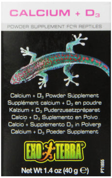 Exo Terra Calcium + D3 Powder Reptiles Supplement, 1.4-Ounce
