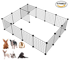 LANGXUN 16pcs Metal Wire Storage Cubes Organizer, DIY Small Animal Cage for Rabbit, Guinea Pigs, Puppy | Pet Products Portable Metal Wire Yard Fence (Black, 16 Panels)