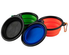 MDW Collapsible Travel Silicone Portable Pet Food Water Bowl with Carabiner--BPA Free(black orange blue and green)