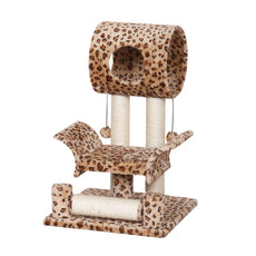 "Catry Leopard Print Cat Tree Condo House, 18"" x 18"" x 28"", Brown"