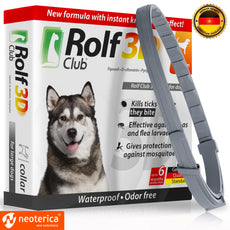 Rolf Club 3D FLEA Collar for Dogs - Flea and Tick Prevention for Dogs - Dog Flea and Tick Control for 6 Months - Safe Tick Repellent - Waterproof Tick Treatment 25-65 LB