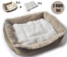 BALLMIE Pet Bed Mat Cushions Blanket Set - cat Bed, Dog Bed, cat Cushion, Soft, Large Size Bed Small Bed+Mat (2 Unit Set)