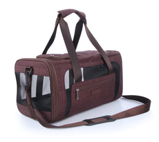 PetsHome Dog Carrier, Pet Carrier, Waterproof Premium Leather Pet Travel Portable Bag Carrier for Cat and Small Dog Home& Outdoor Coffee Medium