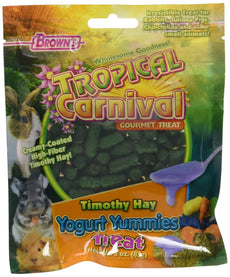 F.M. Brown'S Tropical Carnival Timothy Hay Yogurt Yummies Treats With High Fiber For Rabbits, Guinea Pigs, Chinchillas, And Other Small Animals, 3-Oz Bag