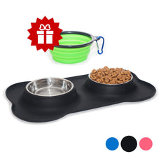 KEKS Small Dog Bowls Set of 2 Stainless Steel Bowls with Non-Skid & No Spill Silicone Stand for Small Dogs Cats Puppy & Collapsible Travel Pet Bowl Black