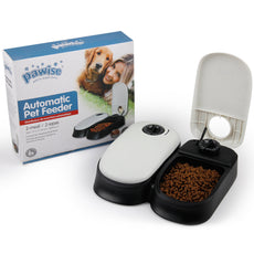 PAWISE Automatic Pet Feeder for Dogs, Cats and Small Animals,Auto Pet Food Dispenser 2 Meal-300ml*2