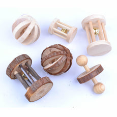 pranovo 6 Pack Hamster Wooden Chewing Toys Pets Teeth Care Molar Ball Exercise Playing Bell Roller Toy for Cat Rabbits Rat Guinea Pig Small Animals